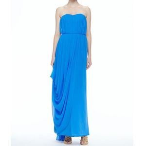 Alice + Olivia Ocean Blue Silk Gown Maxi Dress NWT